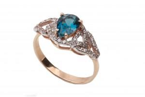 Золотое кольцо с лондон топазом и фианитами