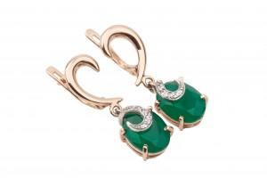 Золотые серьги с зеленым агатом и фианитами
