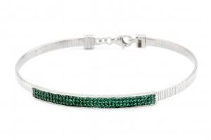 Серебряный браслет с зелеными фианитами