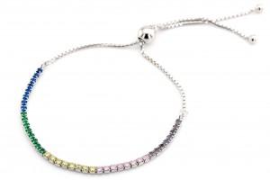 Серебряный браслет-дорожка с разноцветными фианитами
