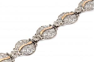 Серебряный браслет (с золотыми накладками)