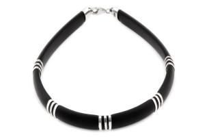 Каучуковый браслет (с серебряными вставками)