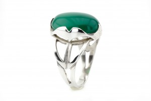 Серебрянное кольцо с хризопразом