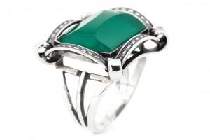 Серебрянное кольцо с имитацией хризопраза