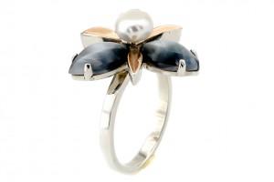 Серебряное кольцо с улекситом и жемчугом (с золотыми накладками)