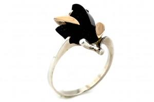 Серебряное кольцо с авантюритом (с золотыми накладками)