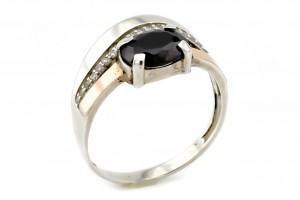 Серебряное кольцо с фианитами (с золотыми накладками)