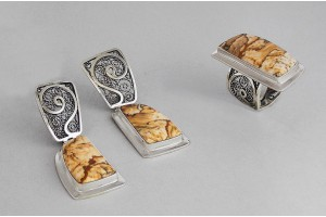 Серебряный набор с яшмой (кольцо и серьги)