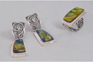 Серебряный набор с лабрадором (кольцо и серьги)