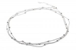 Серебряное колье в стиле минимализм