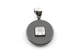 Серебряная подвеска с фианитами и керамикой