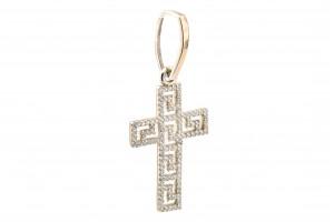 Серебряный крестик с фианитами (с золотыми накладками(