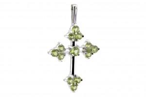 Серебряный крестик с хризолитами