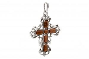 Серебряный крестик с авантюрином