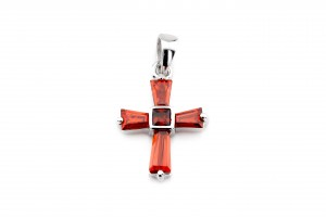 Серебряный крестик (красный)