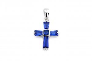 Серебряный крестик (синий)