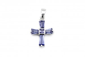 Серебряный крестик (голубой)