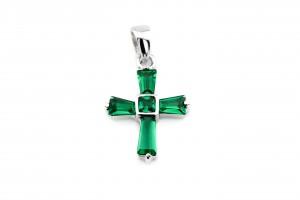 Серебряный крестик (зеленый)