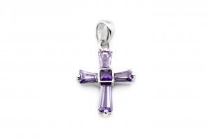 Серебряный крестик (фиолетовый)