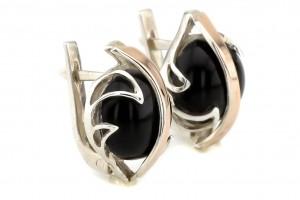 Серебряные серьги с черным ониксом (с золотыми накладками)