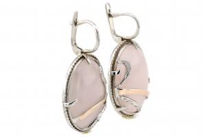 Серебряные серьги с розовым кварцом (с золотыми накладками)