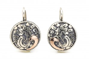 Серебряные серьги (с золотыми накладками)