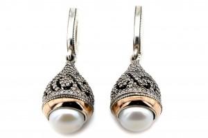 Серебряные серьги с жемчугом (с золотыми накладками)