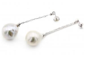 Серебряные серьги с барочным жемчугом
