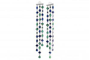 Серебряные висячие серьги с цветными фианитами