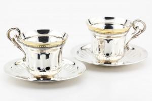Серебряный набор (2 чашки и 2 блюдца)