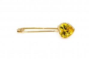 Золотая булавка с желтым фианитом