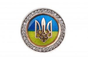 Значок с флагом и гербом Украины