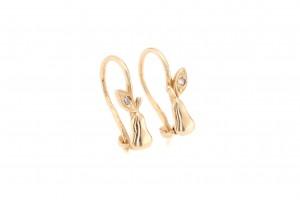 Детские золотые сережки с фианитами
