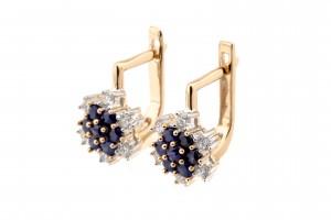 Золотые сережки с бриллиантами и сапфирами