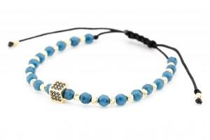 Золотой браслет с синей нитью