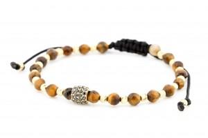 Золотой браслет с коричневой нитью
