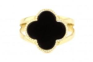 """Золотое кольцо """"Клевер"""" с черным перламутром"""
