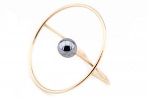 Золотое геометрическое кольцо на два пальца