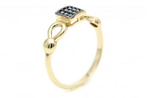 Золотое геометрическое кольцо с синими фианитами