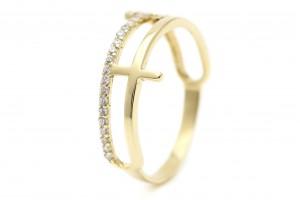 """Золотое кольцо """"Крестики"""" в стиле минимализм"""
