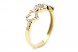 """Золотое кольцо """"Сердечки"""""""