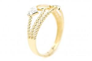 """Золотое кольцо """"Сердечки"""" в минималистичном стиле"""