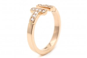 """Золотое кольцо """"Т"""" с фианитами"""