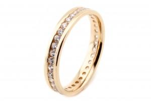 Золотое кольцо-дорожка с фианитами