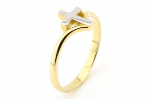 Золотое кольцо с крестико