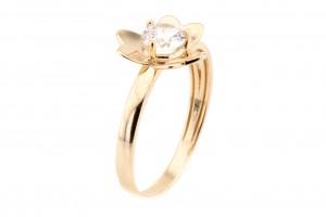 """Золотое кольцо """"Цветок"""" с фианитом"""