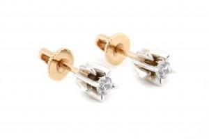 Золотые гвоздики с фианитами