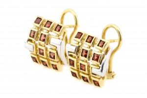 Золотые серьги с гранатами